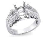 Diamond Semi Mount 18K White Gold DSM-1001
