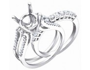 Diamond Two Piece Semi Mount 18K White Gold 0.85 cts. S56-10 [S56-10]