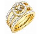 Diamond Three Piece Semi Mount 18K Yellow Gold 0.85 cts. S56-12