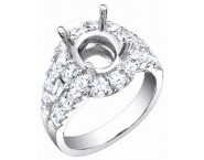 Diamond Semi Mount 18K White Gold 1.89 cts. S56-4
