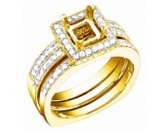 Diamond Three Piece Semi Mount 18K Yellow Gold 0.85 cts. S57-1