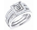 Diamond Three Piece Semi Mount 18K White Gold 0.85 cts. S57-2