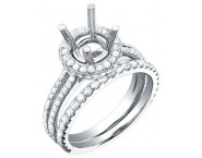 Diamond Two Piece Semi Mount 18K White Gold 1.00 cts. S59-6 [S59-6]