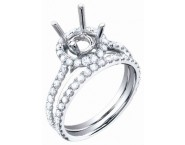 Diamond Two Piece Semi Mount 18K White Gold 1.00 cts. S59-7