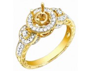 Diamond Semi Mount 18K Yellow Gold 0.45 cts. S61-4 [S61-4]