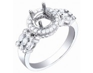 Diamond Semi Mount 18K White Gold 0.65 cts. S62-11 [S62-11]
