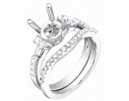 Diamond Two Piece Semi Mount 18K White Gold 0.60 cts. S63-3 [S63-3]
