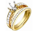 Diamond Two Piece Semi Mount 18K Yellow Gold 0.55 cts. S63-4