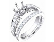 Diamond Two Piece Semi Mount 18K White Gold 0.55 cts. S63-5 [S63-5]