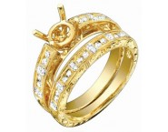 Diamond Two Piece Semi Mount 18K Yellow Gold 0.40 cts. S63-7 [S63-7]