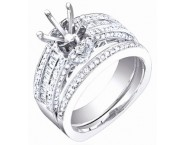 Diamond Two Piece Semi Mount 18K White Gold 0.85 cts. S63-9 [S63-9]