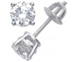 Round Diamond Stud Earrings 14K White Gold 1.80 cts.