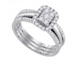 Ladies Three Piece Set 14K White Gold 0.50 cts. GD-92825