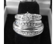 Three Piece Wedding Set 10K White Gold 0.94 cts. JJ-21826