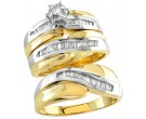 Three Piece Wedding Set 14K 2-Tone Gold 0.75 cts. 3WS-4156