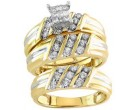 Three Piece Wedding Set 14K Two Tone Gold 1.00 cts. S20-7