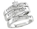 Three Piece Wedding Set 14K White Gold 0.95 cts. S20-12