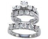 Three Piece Wedding Set 10K White Gold 0.25 cts. GD-17716