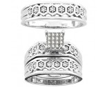 Three Piece Wedding Set 14K White Gold 0.53 cts. CL-18331