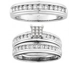 Three Piece Wedding Set 14K White Gold 0.78 cts. CL-19040