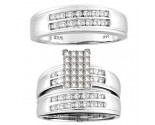 Three Piece Wedding Set 14K White Gold 0.90 cts. CL-19043