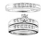 Three Piece Wedding Set 14K White Gold 1.00 ct. CL-19518