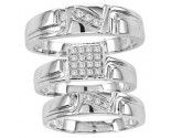 Three Piece Wedding Set 10K White Gold 0.16 cts. CL-25906