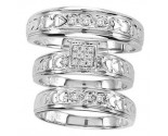 Three Piece Wedding Set 10K White Gold 0.17 cts. CL-25907