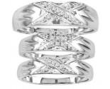 Three Piece Wedding Set 10K White Gold 0.15 cts. CL-25984