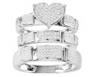 Three Piece Heart Wedding Set 10K White Gold 0.50 cts. CL-29184