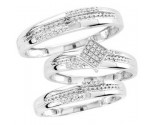 Three Piece Wedding Set 10K White Gold 0.15 cts. CL-29395