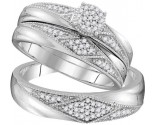 Three Piece Wedding Set 10K White Gold 0.25 cts. GD-108211