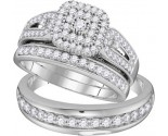 Three Piece Wedding Set 10K White Gold 0.20 cts GD-109856