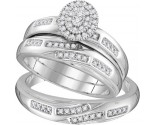 Three Piece Wedding Set 10K White Gold 0.34 cts. GD-110047