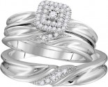 Three Piece Wedding Set 10K White Gold 0.21 cts. GD-110057