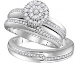 Three Piece Wedding Set 10K White Gold 0.50 cts GD-110079