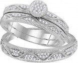 Three Piece Wedding Set 10K White Gold 0.25 cts. GD-108218