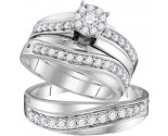 Three Piece Wedding Set 14K White Gold 1.03 cts. GD-109764