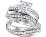 Three Piece Wedding Set 14K White Gold 1.16 cts. GD-109768
