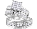 Three Piece Wedding Set 14K White Gold 1.37 cts. GD-109770