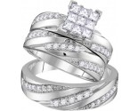 Three Piece Wedding Set 14K White Gold 1.43 cts. GD-109894