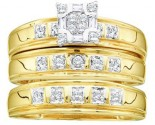 Three Piece Wedding Set 10K Yellow Gold 0.35 cts. GD-11086