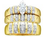 Three Piece Wedding Set 14K Yellow Gold 0.50 cts. GD-11104