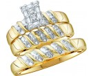 Three Piece Wedding Set 10K Yellow Gold 0.10 cts. GD-11704