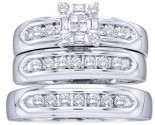 Three Piece Wedding Set 14K White Gold 0.50 cts. GD-11779