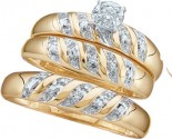 Three Piece Wedding Set 10K Two Tone Gold 0.07 cts. GD-15483