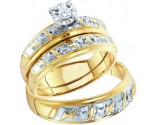 Three Piece Wedding Set 10K Yellow Gold 0.07 cts. GD-15485