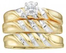 Three Piece Wedding Set 10K Yellow Gold 0.07 cts. GD-18758