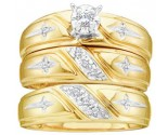 Three Piece Wedding Set 10K Yellow Gold 0.15 cts. GD-17574
