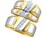 Three Piece Wedding Set 10K Two Tone Gold 0.25 cts. GD-18165
